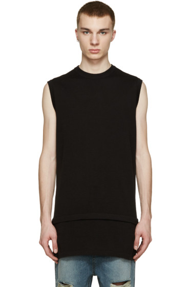D by D - Black Layered Knit T-Shirt