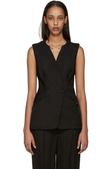 Esteban Cortazar - Black Crepe Double-Breasted Vest