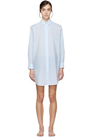 Raphaëlla Riboud - Blue Lace-Inset Marilyn Pyjama Shirt