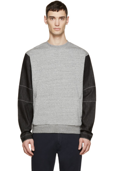 Mostly Heard Rarely Seen - Grey & Black Denim Sleeve Pullover