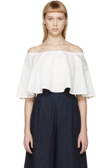 Rosetta Getty - Ivory Off-the-Shoulder Circle Top