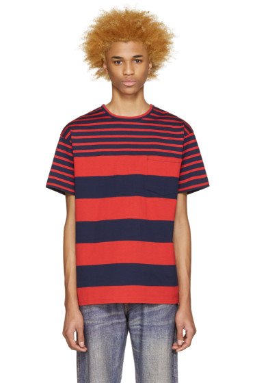 Kidill - Red & Navy Striped T-Shirt