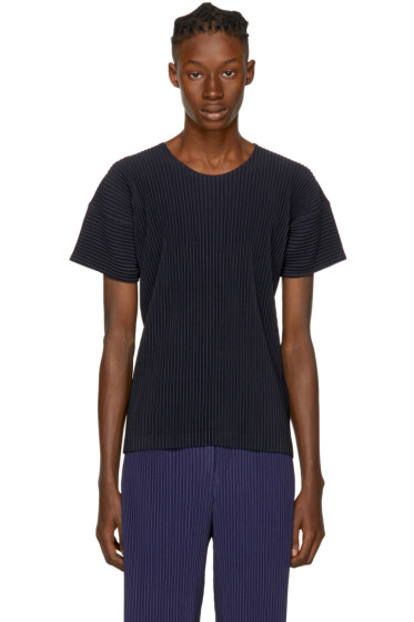Homme Plissé Issey Miyake - Navy Pleated T-Shirt