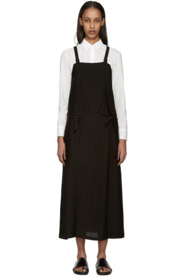 Y's - Black Gabardine Apron Dress