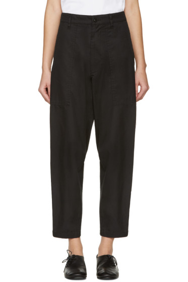 Y's - Black Wide Tuck Trousers