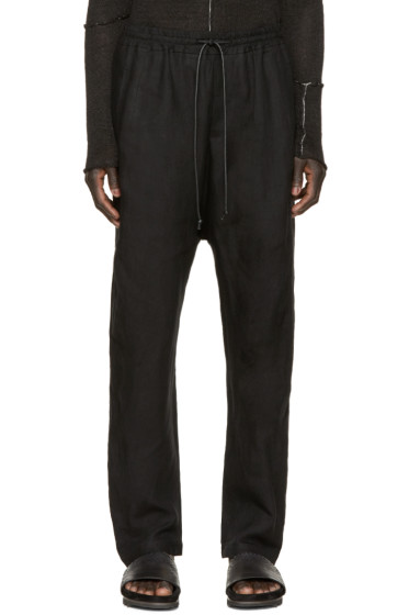 Isabel Benenato - Black Linen Relaxed Trousers