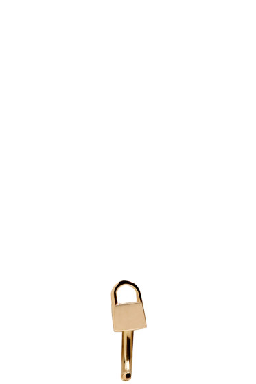 Lauren Klassen - Gold Tiny Padlock Huggy Hoop Earring