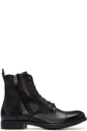 Diesel - Black Leather D-Kallien Boots