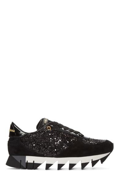 Dolce & Gabbana - Black Suede & Glitter Sneakers