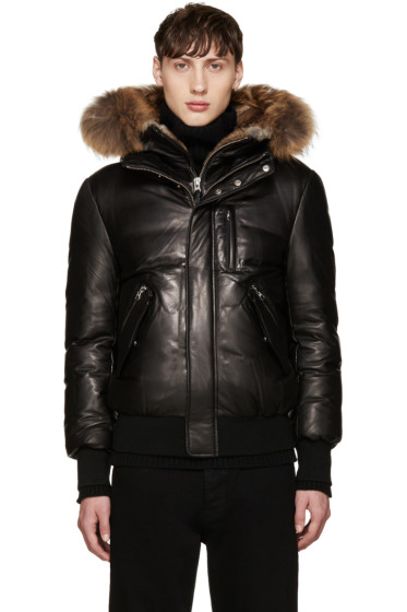 Mackage - Black Leather Down Glen Jacket