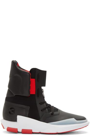 Y-3 - Black & Red Noci 0003 High-Top Sneakers