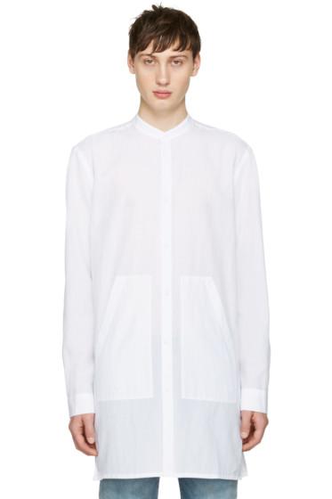 Helmut Lang - White Long Mandarin Shirt
