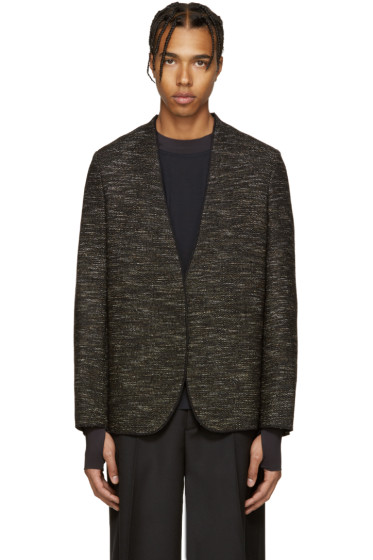 Maison Margiela - Black Deconstructed Tweed Blazer