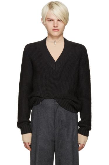 Maison Margiela - Grey Wool V-Neck Sweater