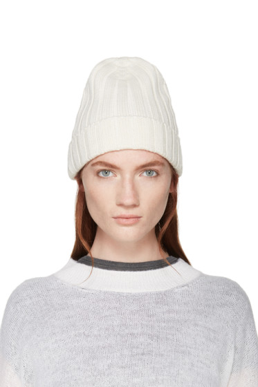 MM6 Maison Margiela - White Ribbed Beanie