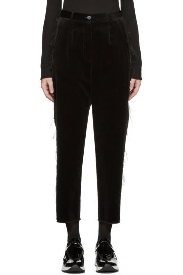 MM6 Maison Margiela - Black Fringed Velvet Trousers