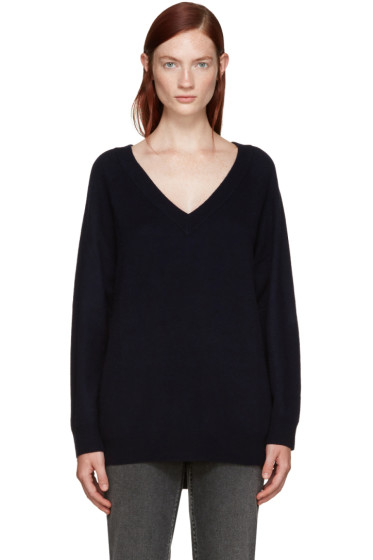 T by Alexander Wang - Navy Deep V-Neck Sweater