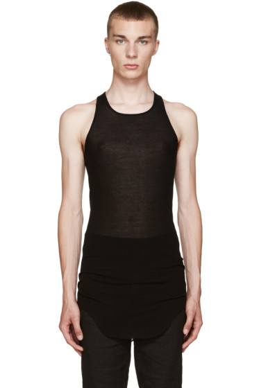 Rick Owens - Black Ribbed Tank