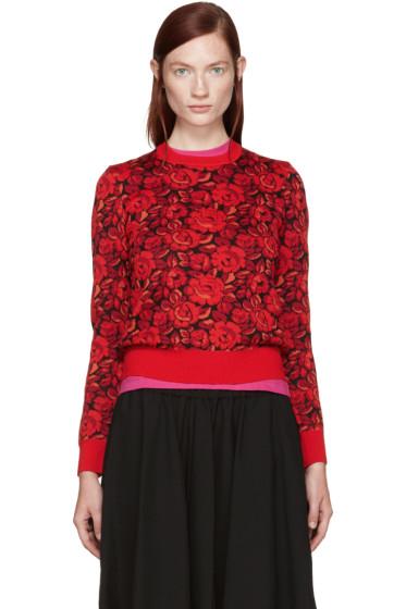 Comme des Garçons - Red Wool Floral Sweater