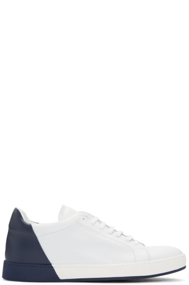 Jil Sander - White & Navy Leather Sneakers