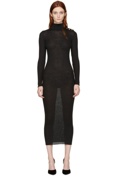 Balmain - Black Wool Dress