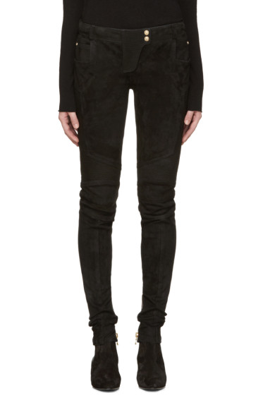 Balmain - Black Suede Biker Pants