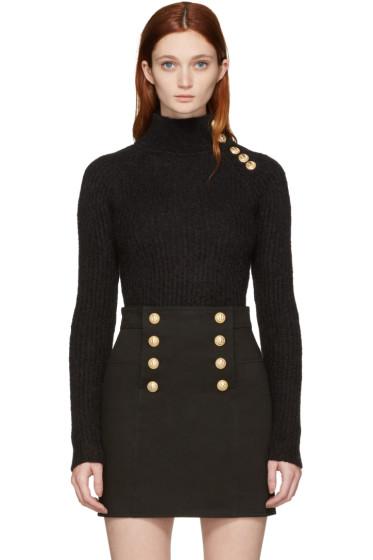 Balmain - Black Buttoned Mohair Turtleneck