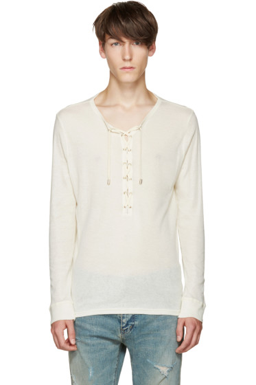 Balmain - Off-White Lace-Up T-Shirt