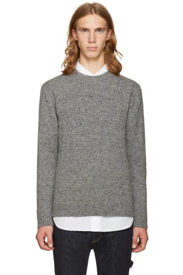 Junya Watanabe - Gray & Black Shetland Tweed Sweater