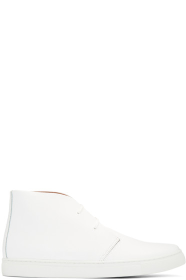Junya Watanabe - White Leather High-Top Sneakers
