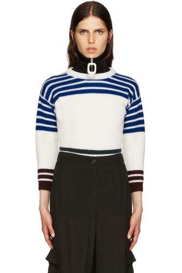 Raf Simons - White Wool Stripes Sweater