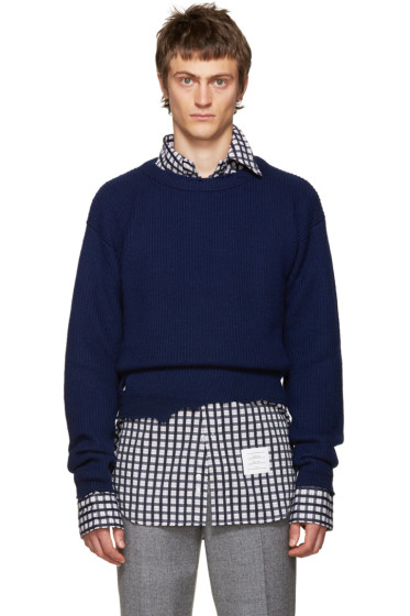 Raf Simons - Navy Wool Destroyed Sweater