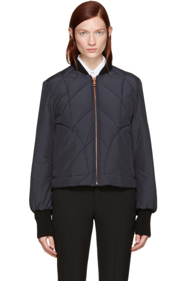 See by Chloé - Navy Quilted Bomber Jacket