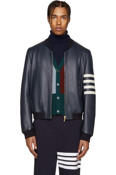 Thom Browne - Navy Leather Varsity Bomber Jacket