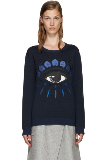 Kenzo - Blue Jacquard Eye Sweater