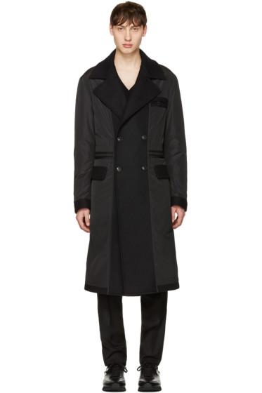 Versace - Black Nylon & Wool Combo Coat
