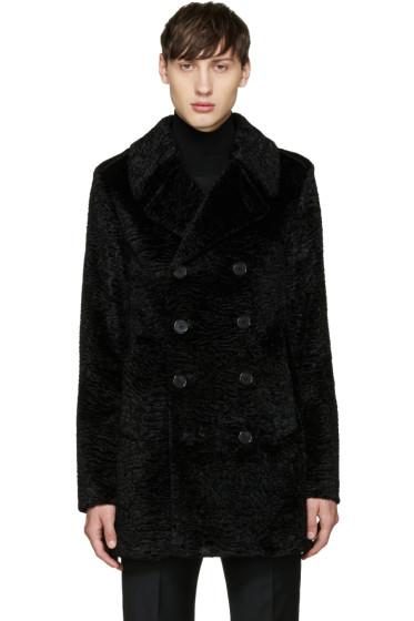 Saint Laurent - Black Faux-Fur Peacoat