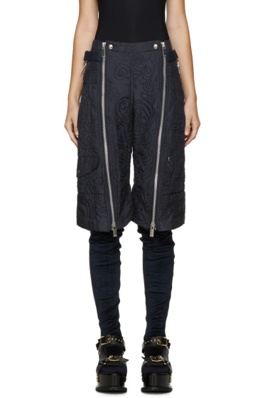 Sacai - Navy Quilted Shorts