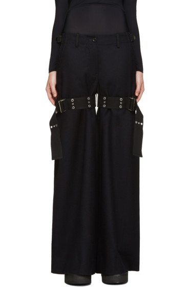 Sacai - Navy Double Belted Trousers