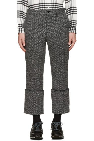 Sacai - Black & White Raw Edge Trousers