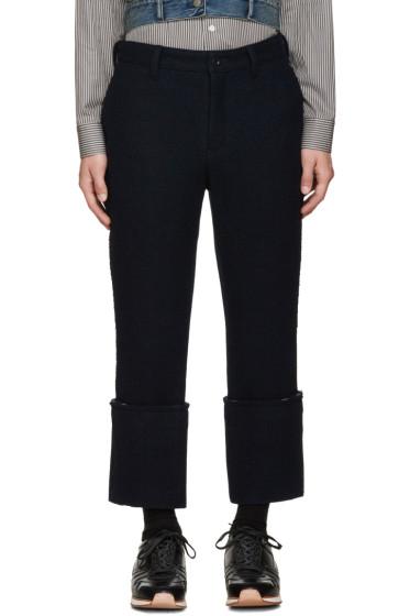 Sacai - Navy Raw Edge Trousers