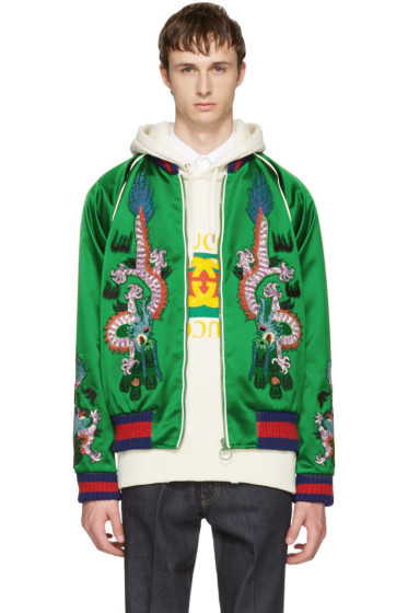 Gucci - Green Embroidered Silk Bomber Jacket
