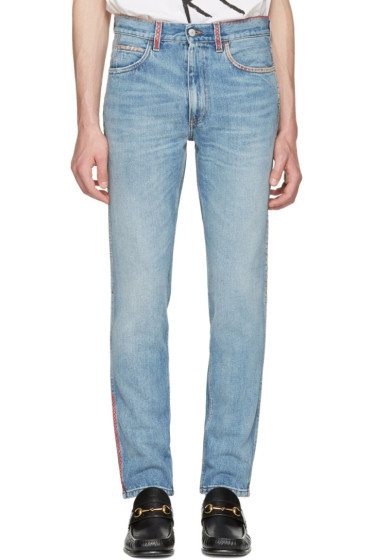 Gucci - Blue Embroidered Jeans