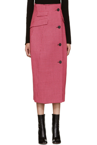 Yang Li - Pink Houndstooth Coat Skirt