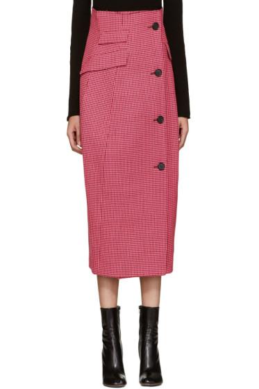 Yang Li - ピンク ハウンズトゥース コート スカート
