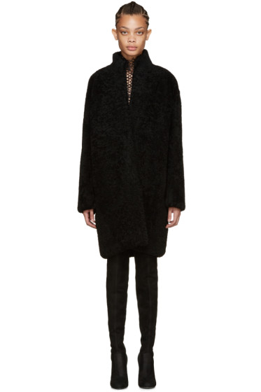 Meteo by Yves Salomon - Black Shearling Coat