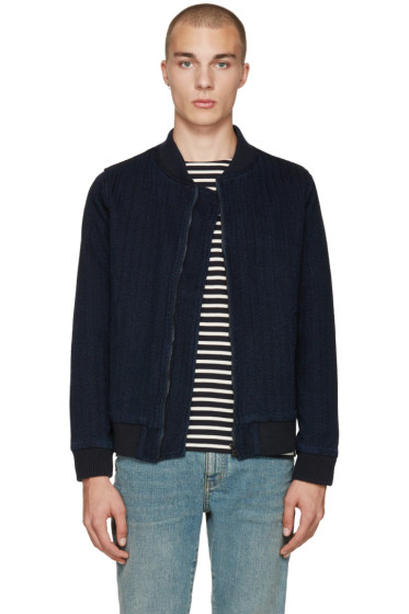 Naked & Famous Denim - Indigo Denim Bomber Jacket