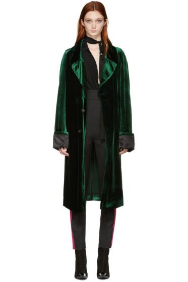Haider Ackermann - Green Velvet Long Coat