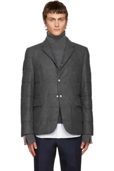 Moncler Gamme Bleu - Grey Wool Quilted Down Blazer