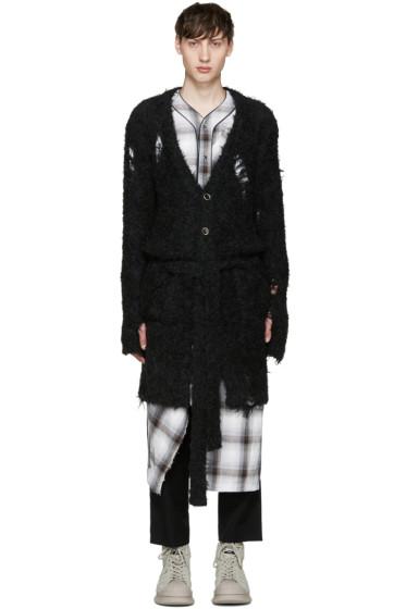 Miharayasuhiro - Black Alpaca Distressed Cardigan